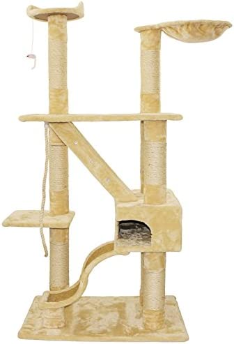 Bestmart INC 74.8 Cat Tree Beige Cat House Activity Tree Cat Scratcher Scratching Post Activity Centre for Medium Large Cats