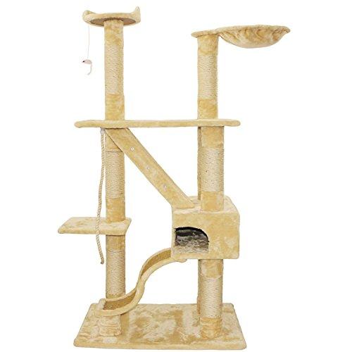 Bestmart INC 74.8'' Cat Tree Beige Cat House Activity Tree Cat Scratcher Scratching Post Activity Centre for Medium Large Cats For Sale