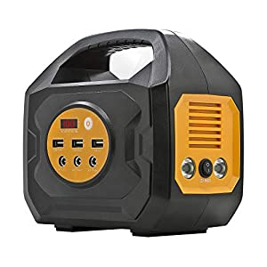 ExpertPower Portable Power Station – 200WH/ 200W Output Rechargeable Solar Generator with 110Vac Outlets, 12VDC Outputs (Car Socket Included), and USB QC3.0 for Camping and Emergency Power Supply