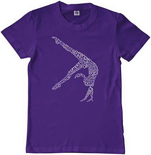Threadrock Big Girls' Gymnast Typography Design Youth T-shirt M Purple ()