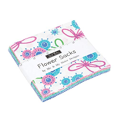 Flower Sacks Charm Pack by Me & My Sister Designs; 42-5 Inch Precut Fabric Quilt - Cotton Quilt Fabric Flowers