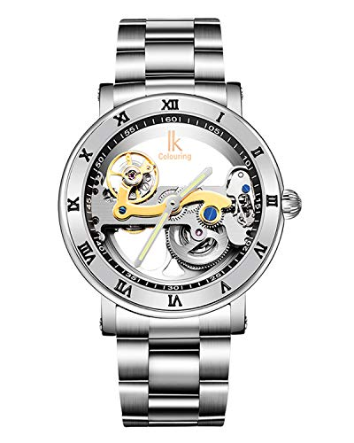 Gute Luxury Steampunk Bling Auto Mechanical Wristwatch Stainless Steel Silver Minimalist Watch