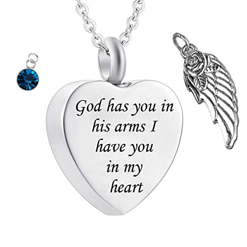 God has You in his arms with Angel Wing Charm Cremation Ashes Jewelry Keepsake Memorial Urn Necklace with Birthstone Crystal (March)