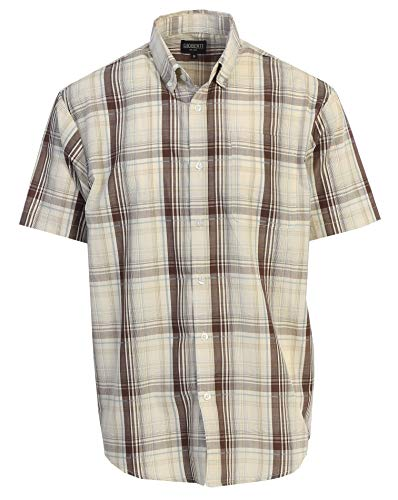 Gioberti Men's Plaid Short Sleeve Shirt, Khaki/Brown/Carolina Blue, X -