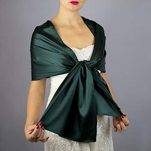 Satin green pine irish shamrock stole wrap shawl evening dress accessory