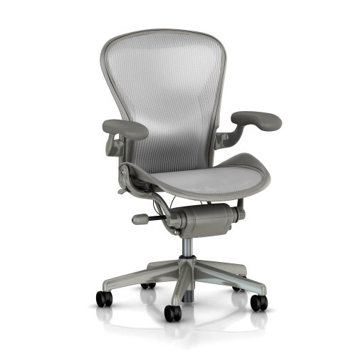 Herman Miller Aeron Basic Chair (Herman Miller Classic Aeron Task Chair: Basic - Standard Tilt - Fixed Leather Arms - Standard Carpet)