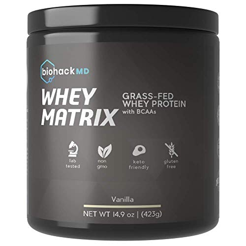 Biohack MD 100% Grass Fed Whey Protein with BCAAs - All Pure, Natural, Hormone Free - No GMOs - Dr. John Limansky, MD Formulated - Vanilla 14.9oz (423g) - 15 Servings