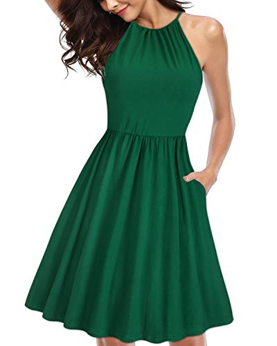 KILIG Women's Halter Neck Floral Sundress Casual Summer Dresses with Pockets (Green,M) - Dresses Holiday Cute