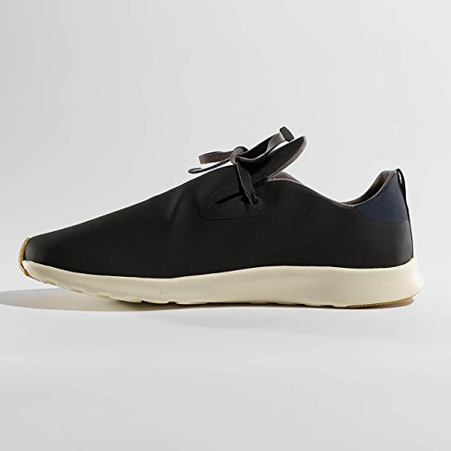Inheemse Unisex Apollo Moc Fashion Sneaker. Jiffy Zwart / Regatta Blauw / Beenwit / Natuurrubber