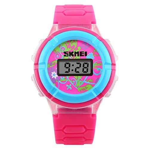 Child's Digital Watch Fashion Glaring LED Light Wrist Watch PU Strap, Rose Red