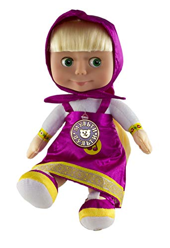 ew Desing Perky Character Doll Masha Soft Toy 11-inch Speaks English 7 Phrases and 1 Song, Masha y el OSO ()