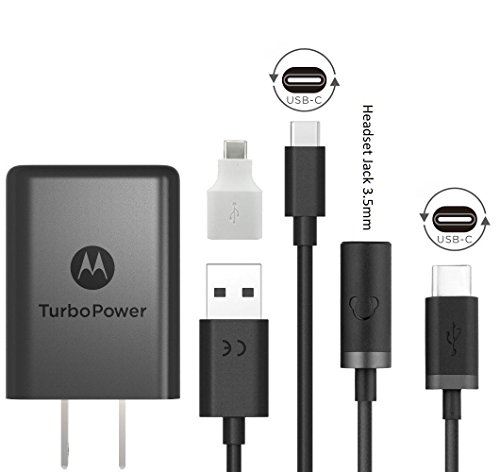 Motorola 15w TurboPower TYPE C Charger - W/Headset Jack & Google C USB Adapter for Moto X4, (Motorola Wall Home Charger)