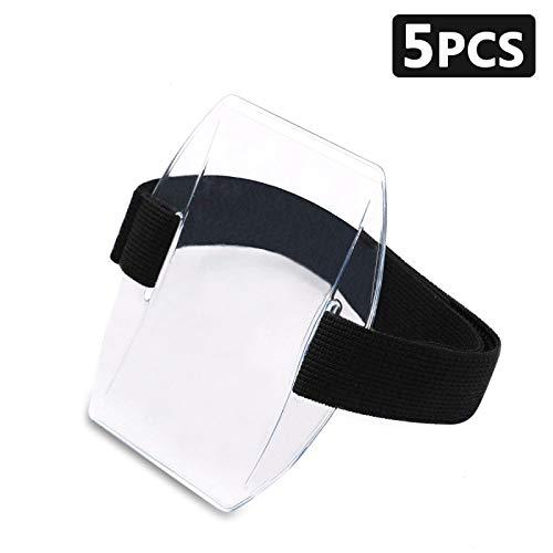 Armband Id Holder - Timoo 5 PCS Arm Badge Holder Armband ID Card Holder Adjustable Velcro, Universal Size