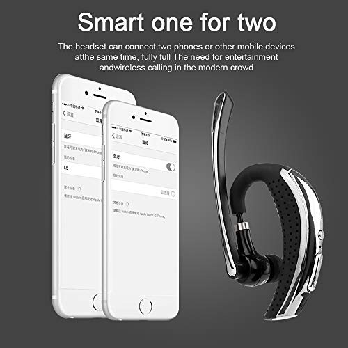 Bluetooth Headset, Wireless Earpiece Hands Free Stereo Business Earphones in-Ear Earbuds with Noise Canceling Mic for Business/Office/Driving, Bluetooth Earpiece Work for iOS/Android Cell Phones by fibevon (Image #2)
