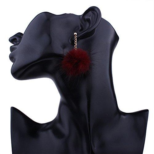 d'oreilles boule petite Wine pendentif oreille tempérament cheveux de mignonne pendentif long Red boucles Lady stud E7wq5Hn