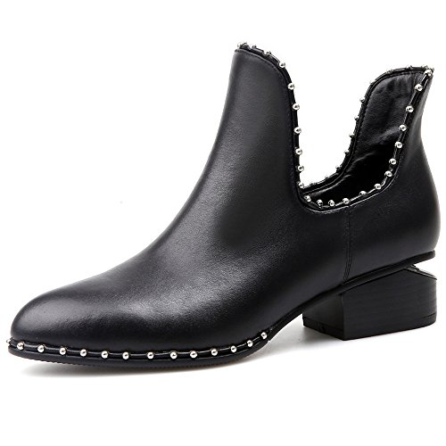 Genuine Leather Women's Pointed Toe Chunky Heel Slip On Studded Handmade Comfort Ankle Boots