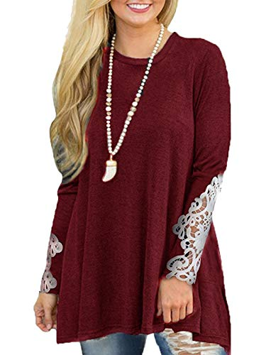 - MISSLOOK Women's Tops Lace Shirts Crochet Tunics Off Shoulder Long Sleeve Blouses lace-Burgundy XL