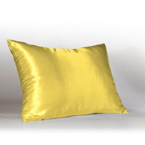 Sweet Dreams Luxury Satin Pillowcase with Zipper, Standard Size, Yellow
