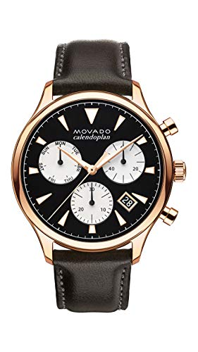 Movado Mens Heritage Rose Gold Chronograph Watch with Printed Index, Black/Brown/Pink/Gold (Movado Black Clock)