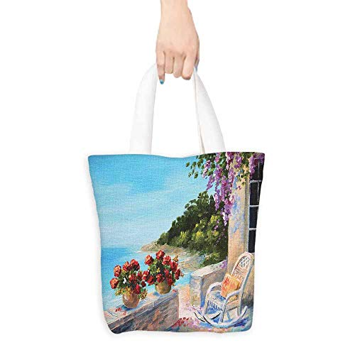 Washable Grocery Tote with Pouch,Seascape Sea View Balcony with Cosy Rocking Chair Flowers in Summer Sky Oil Painting Style,Canvas Grocery Shopping Bags with Handles,16.5