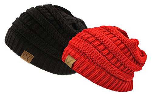 Trendy Warm Chunky Soft Stretch Cable Knit Slouchy Beanie Skully, 2 Pack: Black/Red, One Size