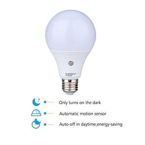 USA Free Shipping 2Pcs E27 6000K LED Dusk To Dawn Sensor Light Bulbs Built In