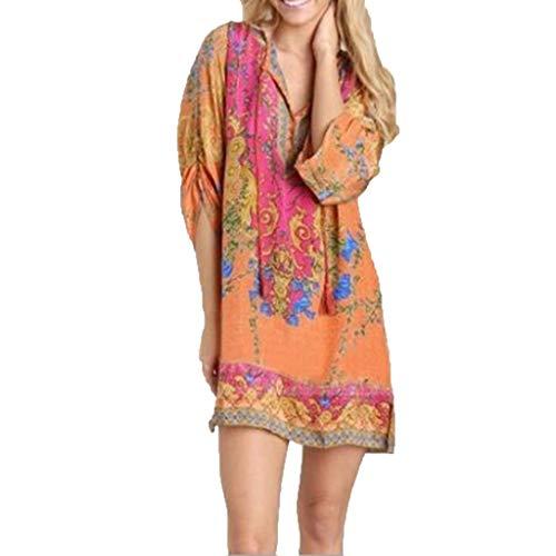 Fshinging Retro Plus Size Dress for Women 3/4 Sleeve V-Neck Print Patchwork Mini Dress Bohemian Short Dress(Orange,M)