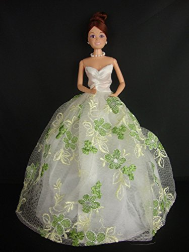 - White Strapless Ball Gown with Little Green Flowers Made to Fit Barbie Doll