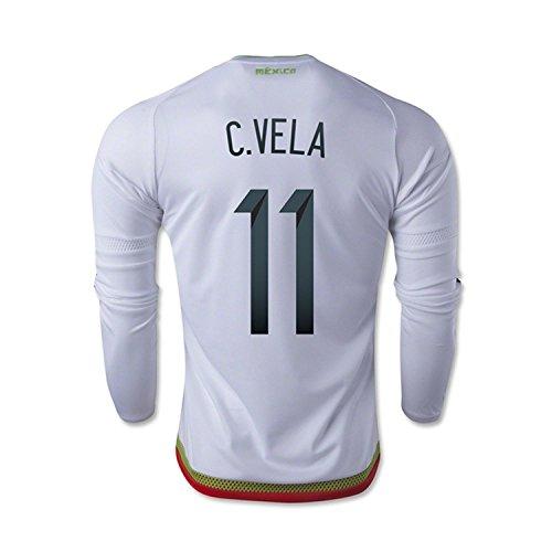 発送遺産領事館adidas C. Vela #11 Mexico Away Soccer Jersey 2015 -Long Sleeve(Authentic name and number of player)/サッカーユニフォーム メキシコ アウェイ用 ベラ 背番号11 長袖