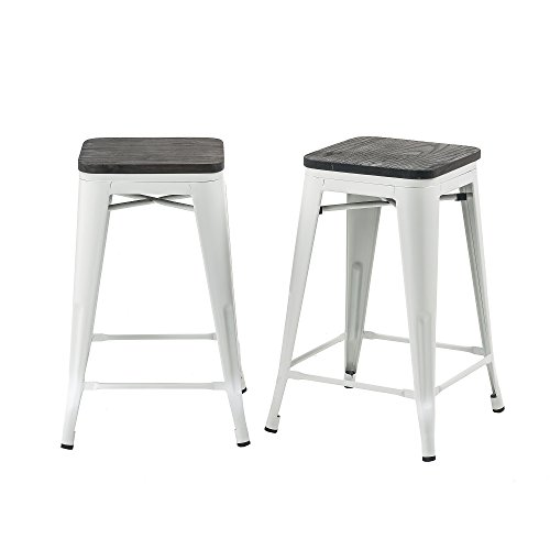 Buschman Set of 2 Matte White Wooden Seat 24 Inch Counter Height Metal Bar Stools, Indoor/Outdoor, Stackable