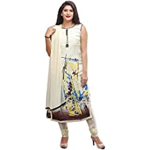 Cream Colour Printed Cotton Casualwear Readymade SalwarKameez