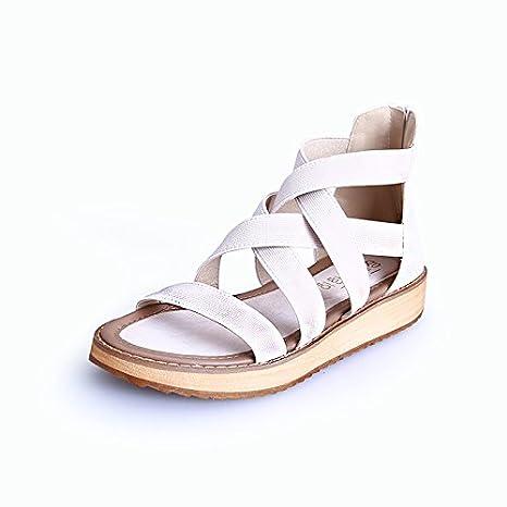 Angrousobiu Señor Roman señoras sandalias Bizcocho hembra Flat-Bottomed gruesos zapatos de cuero de un gran número de estudiantes zapatos de mujer