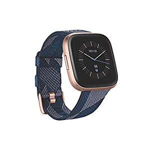 Fitbit Versa 2 Health & Fitness Smartwatch with Voice Control, Sleep Score & Music, One Size, SE Navy & Pink Woven