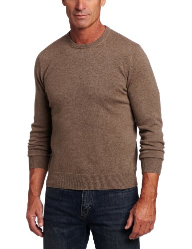 Brown 100% Cashmere Sweater (Williams Cashmere Men's 100% Cashmere  Long Sleeve Crew Neck Sweater, Heather Brown, Large)