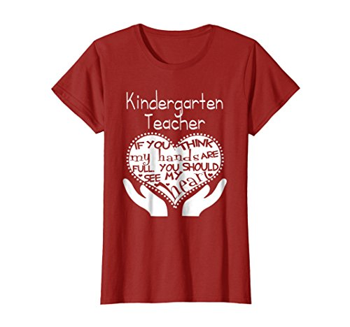Womens Love Kindergarten Teacher T Shirts 2017 If You Think My Hand Large - Tshirts Teacher Kindergarten