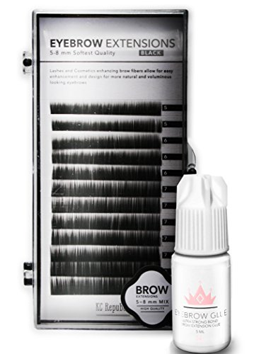 Eyebrow Extensions with Eyebrow Extension Glue Clear with Mink Eyebrows | Comes on Mixed Length Trays 5-8 mm mix by KC Republic