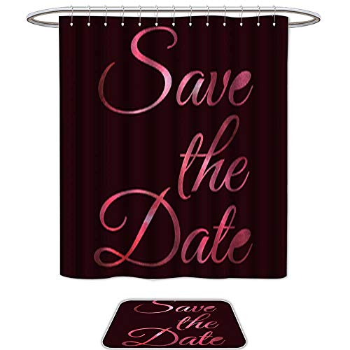 QianHe Set of 2 Shower Curtain and Mat SetHand Written Watercolor Words Save The Date. 12pcs Metal Hook,Bath -