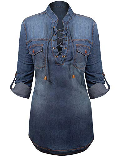 Shirt Denim Top (HOT FROM HOLLYWOOD Women's Button Down Roll up Sleeve Classic Denim Shirt Tops)