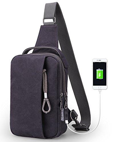 Muzee Sling Bag for Men Chest Shoulder with USB Charging Port Gym Backpack Sack Satchel Outdoor Crossbody Pack (Blue - Mens Edc Bag