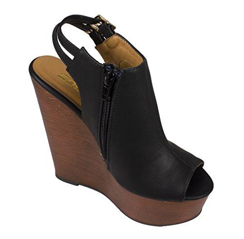 Soda Women's Rehan Peep Toe Slingback Platform Faux Wood Heel Wedge Sanda, black leatherette, 8 M US
