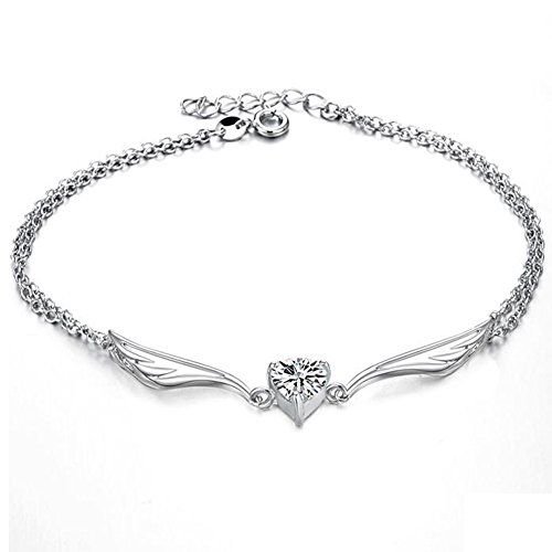 (Women'S Platinum Plated Anklet Heart Shaped Rhinestone Inlay Pendant Foot Leg Chain Length Adjustable Anti-Allergy/Anti-Color Fading )