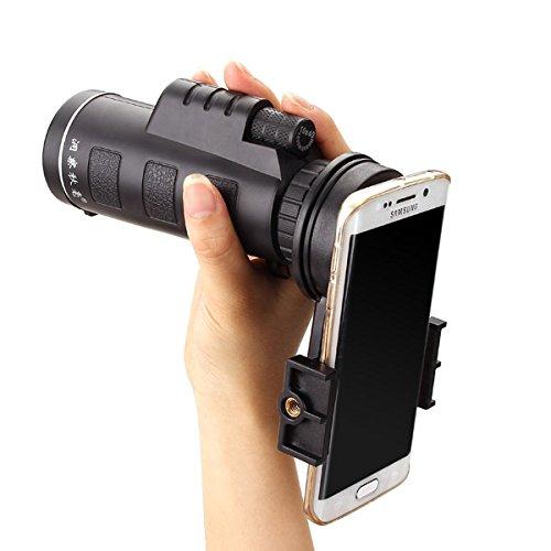 Universal 10x40 Telephoto Lens Cell Phone Telescope, M.Way Hiking Concert Camera Lens Monocular+ Universal bracket + Bag For Iphone Sony Samsung Moto Etc Universal clip