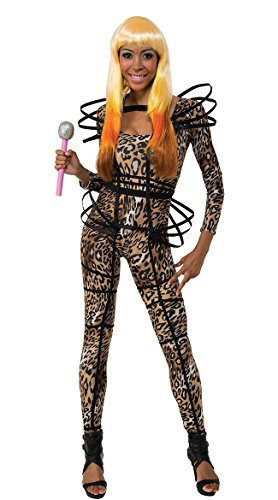 Nicki Minaj Halloween (Secret Wishes  Costume Nicki Minaj Collection Leopard Print Catsuit With Hoops, Brown/Black, X-Small)