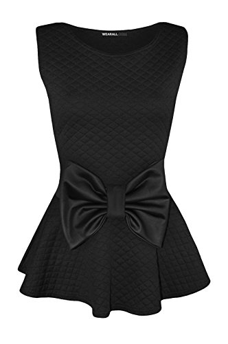 Black Sleeveless Bow (Forever Womens Sleeveless Quilted Wet Look Bow Flared Peplum Party)