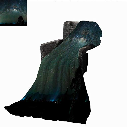 AndyTours Weighted Blanket,Sky,Milky Way Photography Universe from Sabah Borneo East Malaysia South Eastern Asia,Pale Green Black,Indoor/Outdoor, Comfortable for All Seasons 35