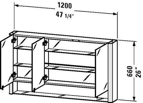 Cabinet Glass Duravit (Duravit MB970303737 Multibox New mirror cabinet 47 1/4