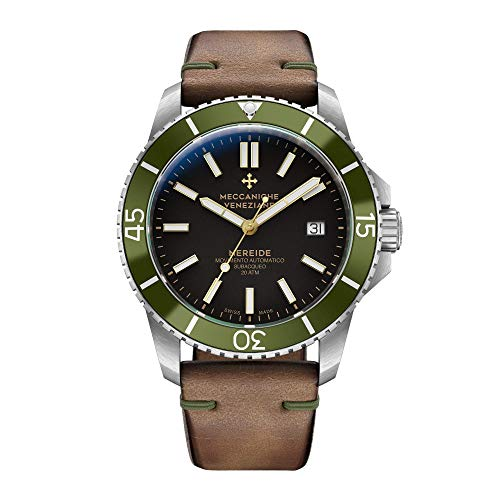 Meccaniche Veneziane Men's Automatic Mechanical Diver Watch with Vintage Leather Strap Nereide 3.0 Ardesia Black with Green Bezel 1202005 Swiss - Swiss Incabloc
