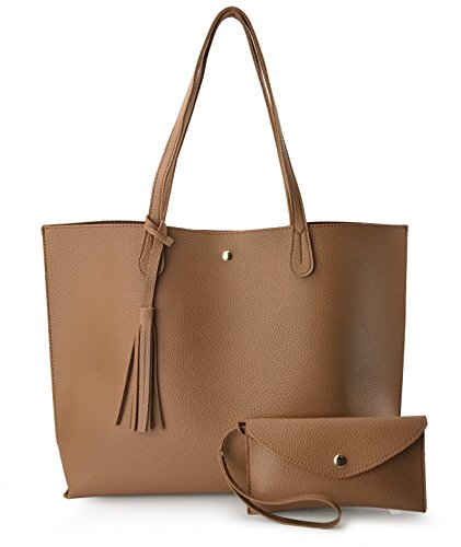 Minimalist Clean Cut Pebbled Faux Leather Tote Womens Shoulder Handbag (Brown) (Brown Pebbled)