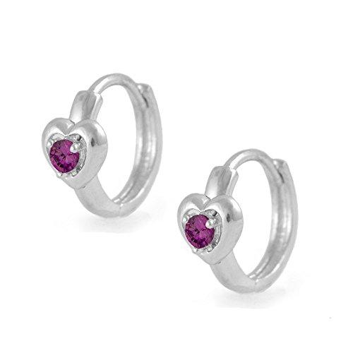 Kids Silver Heart Simulated July Birthstone Huggie Hoop Earrings For (Birthstone Heart Childrens Earrings)