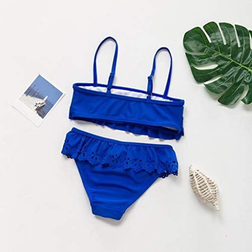 Mbby 5-14 Anni Costumi da Bango Due Pezzi per Bambina Tinta Unita Balze Bikini per Ragazza,Top + Pantaloncini